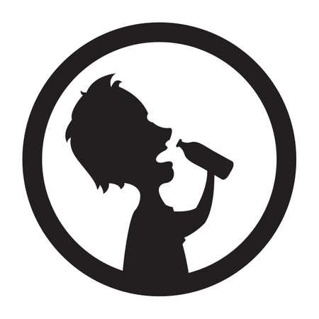 man drinking water: silhouette of man drinking water Illustration