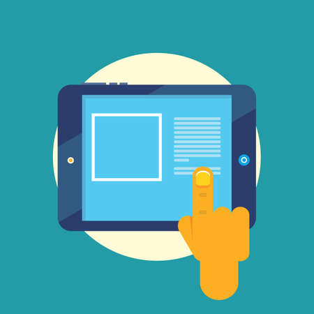 using tablet: hand using tablet