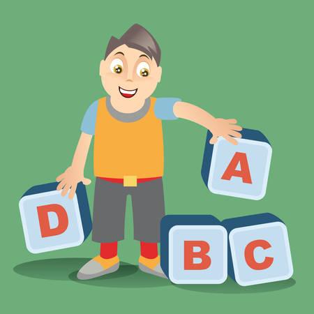 alphabet blocks: boy with alphabet blocks Illustration