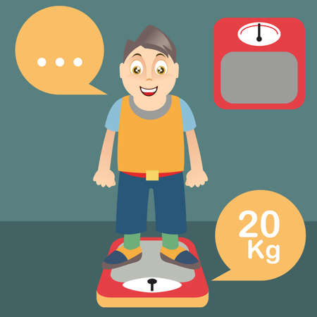 weight scale: boy on weight scale