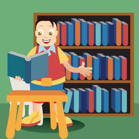 book racks: boy reading book Illustration