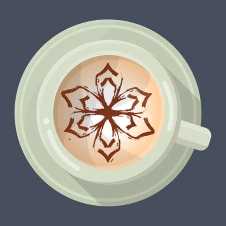 latte: latte with flower design in foam Illustration