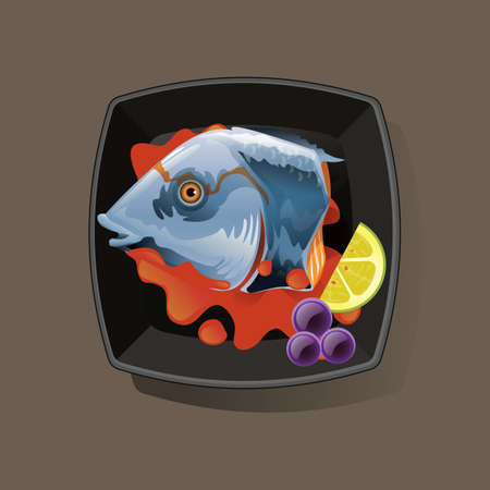 directly above: fish served in bowl Illustration