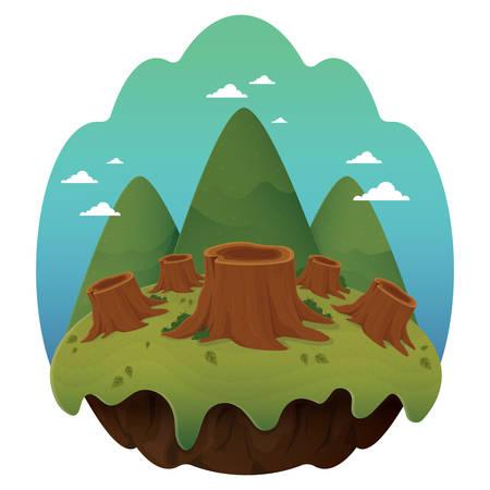stumps: tree stumps on floating island