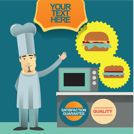 job satisfaction: chef in kitchen Illustration