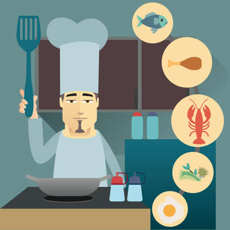 chef cooking seafood