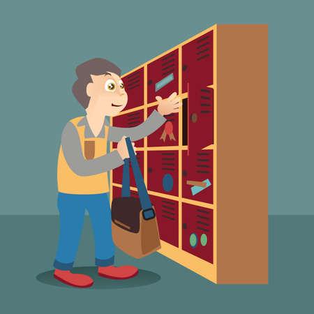 lockers: boy in front of lockers