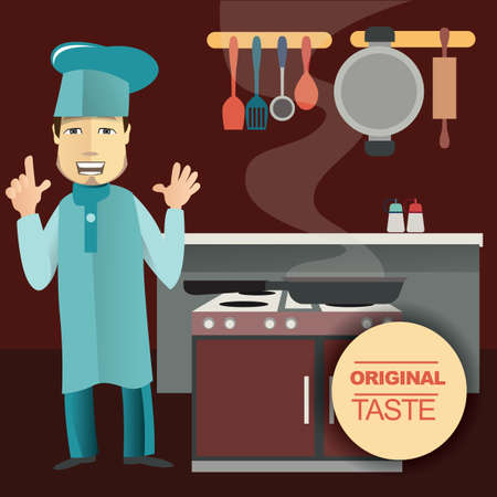 cooking chef: chef cooking in kitchen Illustration