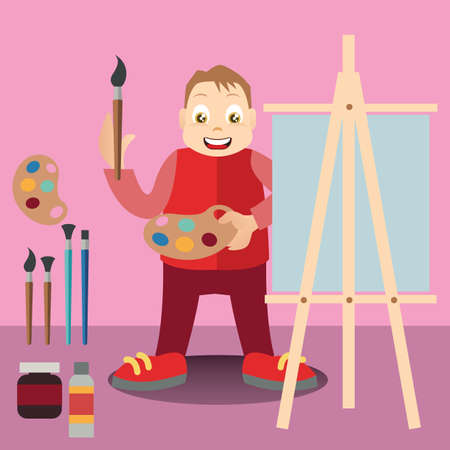 artist's canvas: boy painting on easel