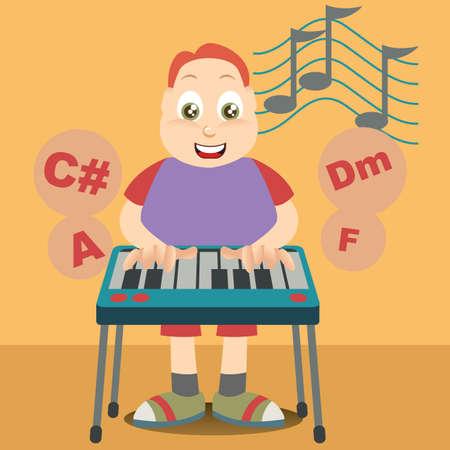 playing piano: boy playing piano Illustration