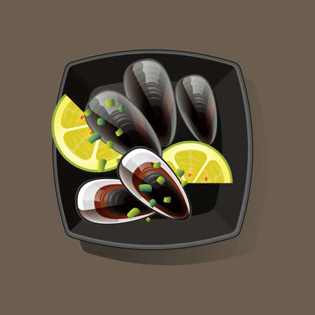 directly above: mussels served in bowl Illustration