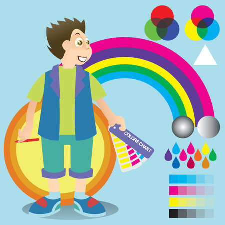 color chart: boy with color chart Illustration