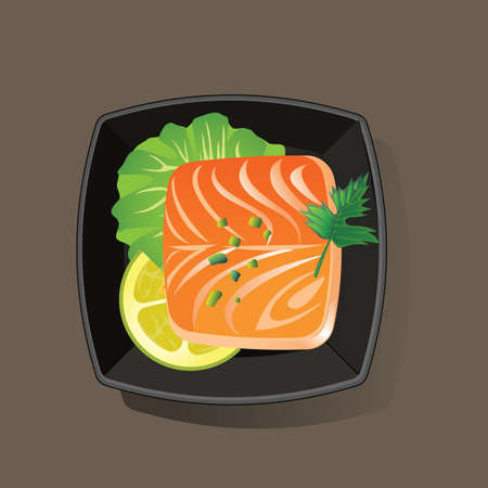 directly above: salmon fish slice served in bowl Illustration