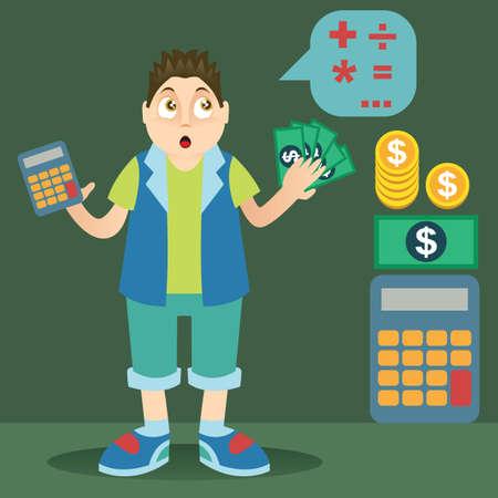 calculating: boy calculating money