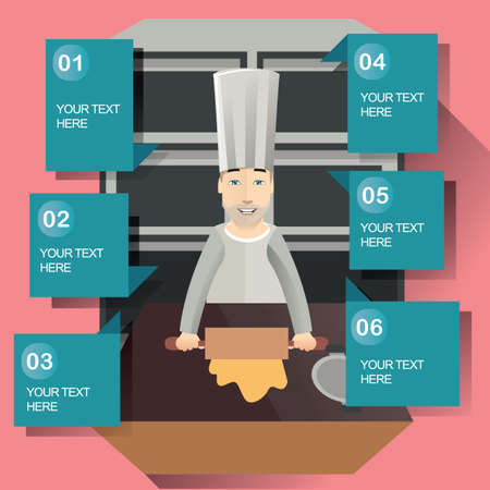 microwave ovens: chef in kitchen Illustration