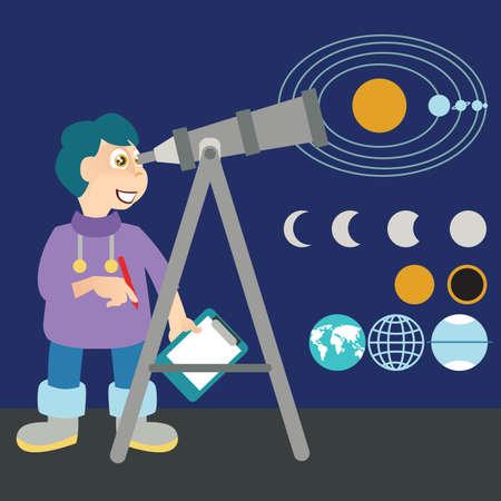 observing: boy observing planets Illustration