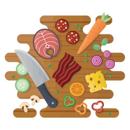 food: various sliced food Illustration