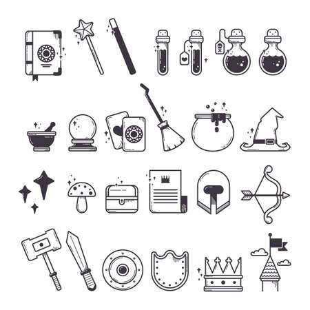 set of fantasy icons 版權商用圖片 - 53231419