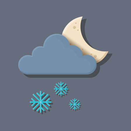 dark cloud: dark cloud with moon and snowflakes