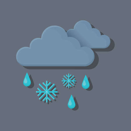 dark clouds: dark clouds with snowflakes and rain