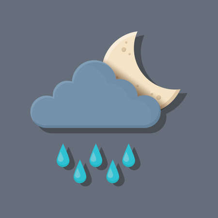 dark cloud: dark cloud with moon and rain Illustration