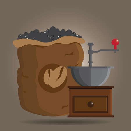 grinder: coffee bean bag with grinder Illustration