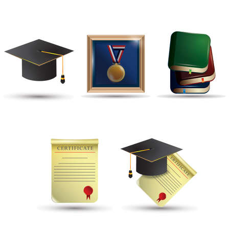 mortarboard: set of graduation icons