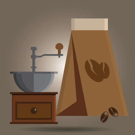 grinder: grinder and coffee bean bag Illustration