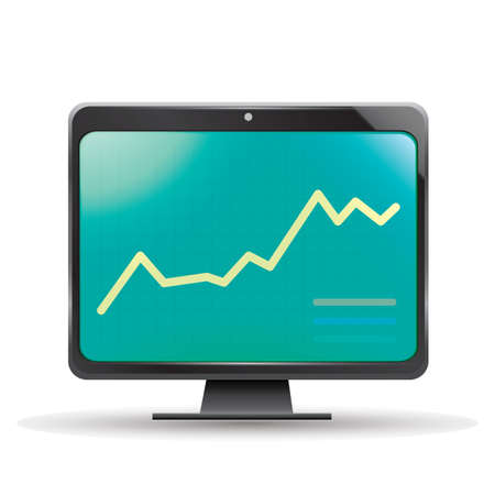 line graph: line graph on monitor