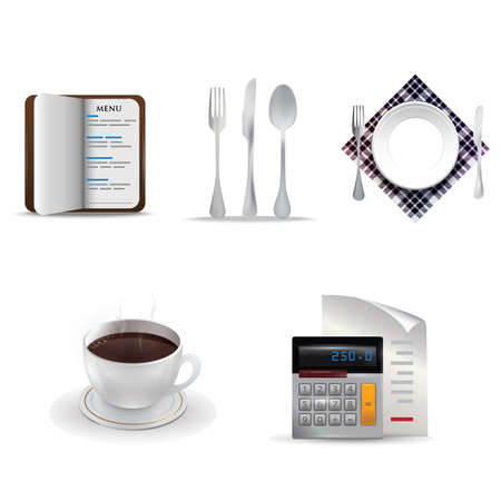 restaurant bill: restaurant icon set