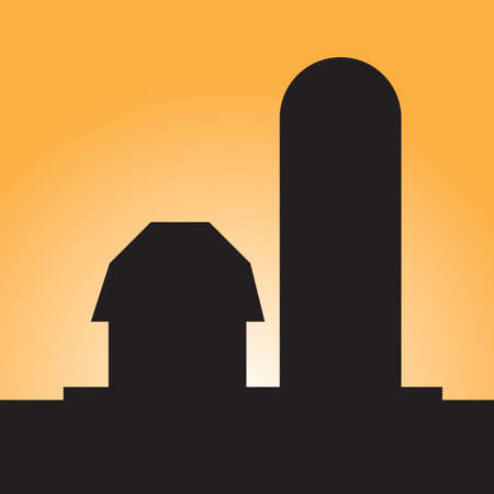 silos: silhouette of a barn and silo Illustration