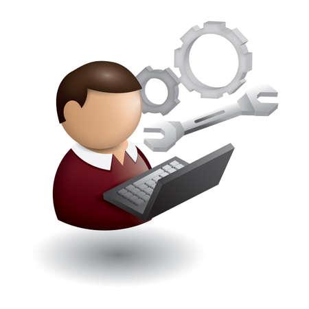 man with laptop: man working on laptop