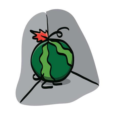 hiding: watermelon cartoon character hiding in corner