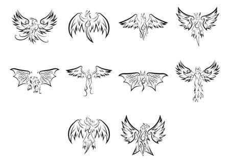 engel tattoo: Sammlung von Tattoo-Design Illustration