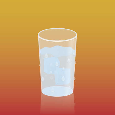 ice water: glass of ice water