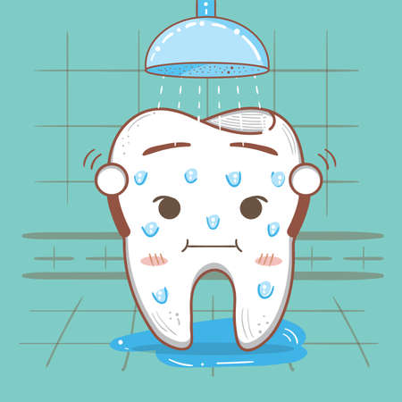 taking shower: tooth taking shower