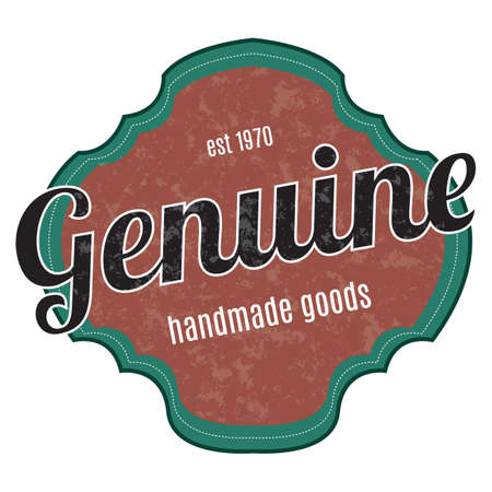 genuine: genuine handmade goods label Illustration