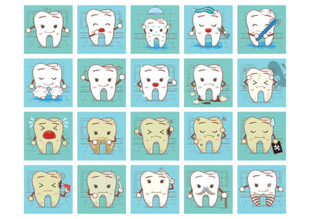old mirror: tooth with various actions Illustration