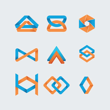 interlocked: set of abstract icons