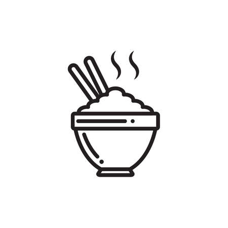 steaming: steaming bowl of rice Illustration