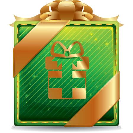 x   mas: gift box button Illustration