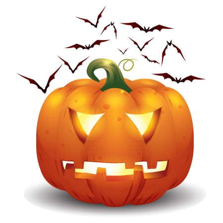 angry vegetable: halloween pumpkin and bats Illustration