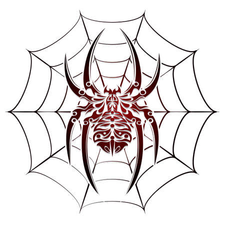 cobwebs: spider and web tattoo Illustration
