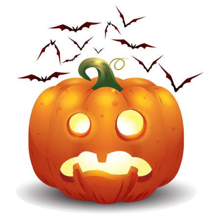 astonish: halloween pumpkin and bats Illustration