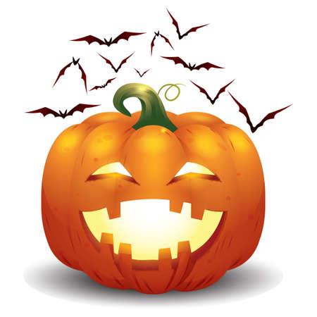 zucca di Halloween e pipistrelli