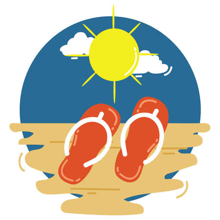 flip flops: flip flops on beach Illustration