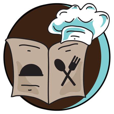 recipe book: recipe book and  chef cap Illustration