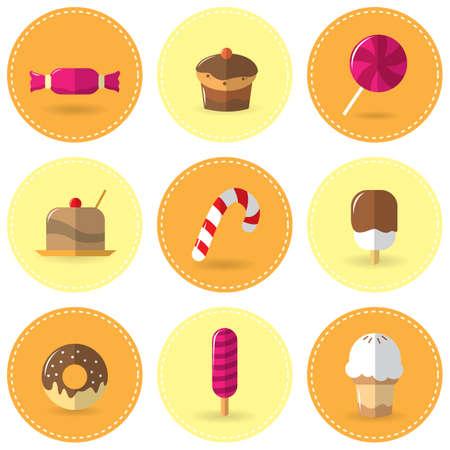 food: set of sweet food Illustration