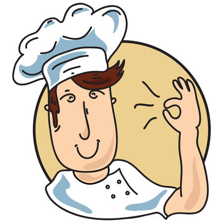 alright: chef showing okay sign Illustration
