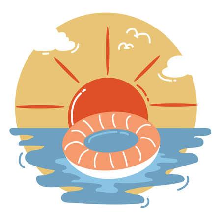 tube: swimming tube on sea Illustration